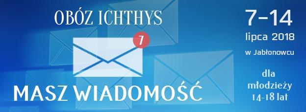 Baner informacyjny o obozie Ichthys dla młodzieży