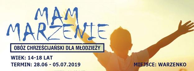 Baner informacyjny o obozie chrześcijańkim dla młodzieży w Warzenkowie